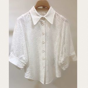 Authentic Chloe white quarter sleeve top blouse